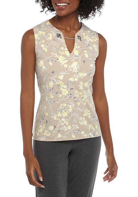 Calvin Klein Womens Sleeveless Floral Camisole with Hardware