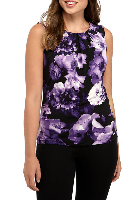 Calvin Klein Womens Sleeveless Long Floral Pleat Neck