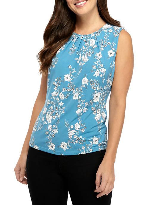 Calvin Klein Womens Sleeveless Floral Pleat Neck Camisole