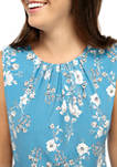 Womens Sleeveless Floral Pleat Neck Camisole