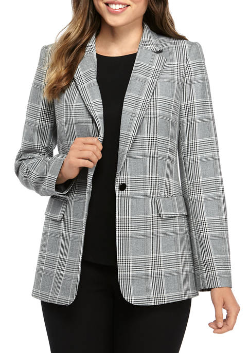 Womens Plaid 1 Button Jacket