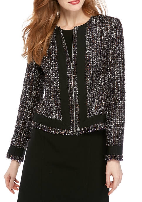 Calvin Klein Womens Tweed Zip Front Jacket