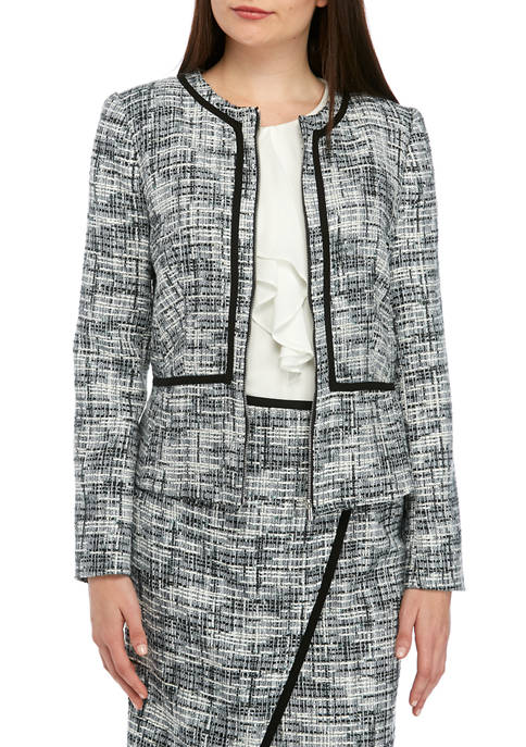 Calvin Klein Womens Piped Zip Front Jacket