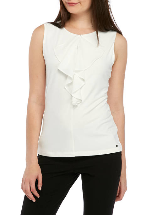 Calvin Klein Womens Short Sleeve Ruffle Front Camisole