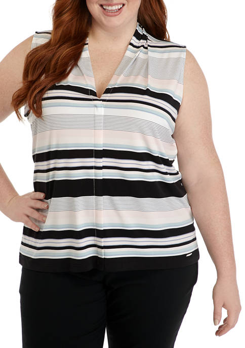 Calvin Klein Plus Size Multi Stripe V Neck