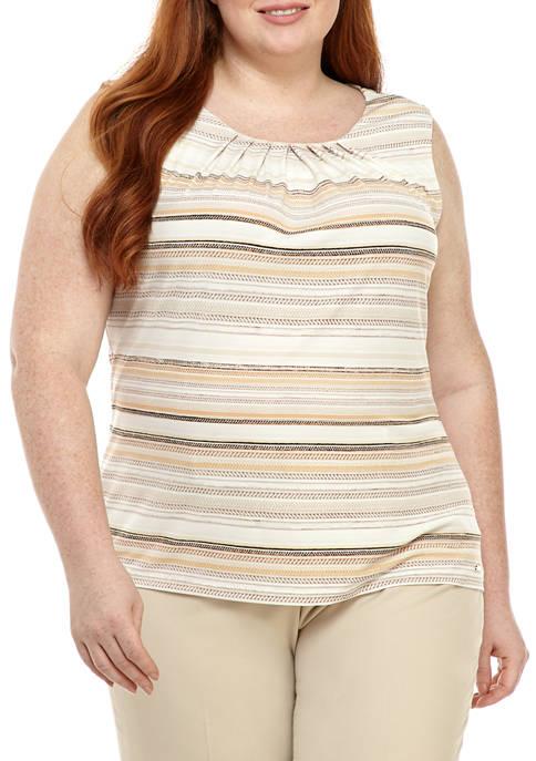 Plus Size Printed Pleat Neck Cami