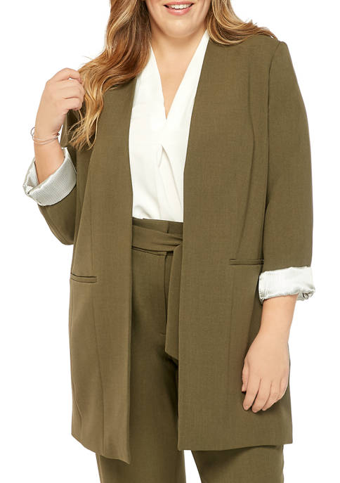 Calvin Klein Plus Size Roll Sleeve Novelty Jacket