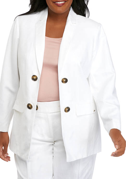 Calvin Klein Plus SIze Double Breasted Linen Jacket