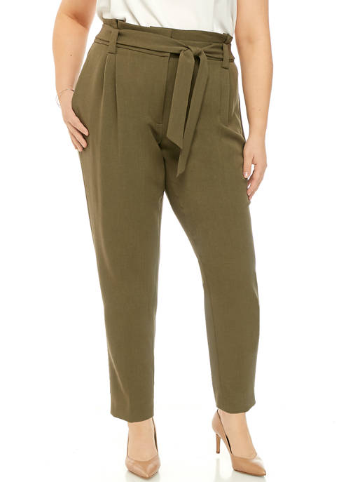 Calvin Klein Plus Size Twill Belted Waist Pants