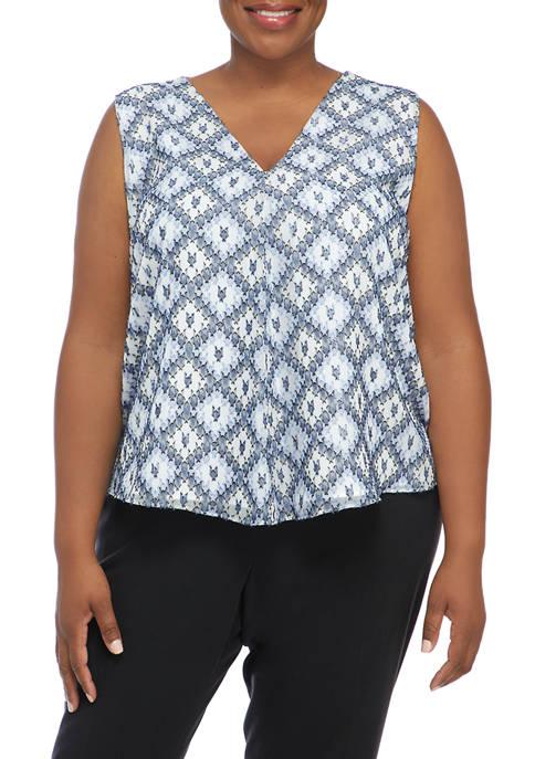 Calvin Klein Plus Size Sleeveless Printed V-Neck Blouse