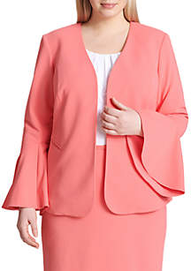 Plus Size Flare Sleeve Open Front Jacket