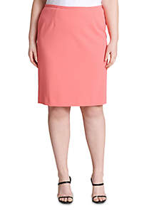 Plus Size Solid Straight Skirt