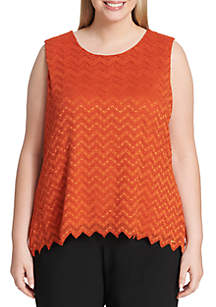 Plus Size Sleeveless Lace Top