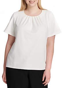 Short Sleeve Pleated Top