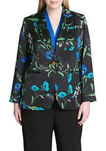 Plus Size Floral One Button Jacket