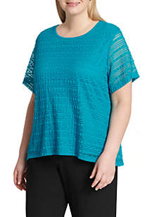Plus Size Short Sleeve Horizontal Ribbed Top