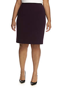 Plus Size Crepe Pencil Skirt