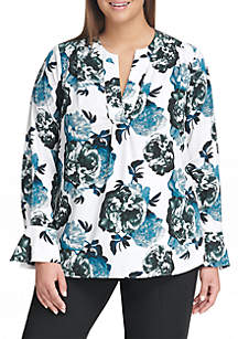 Plus Size Bell Sleeve Floral Blouse