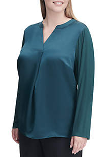 Plus Size Long Sleeve Pleated Blouse