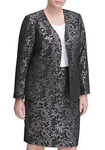 Plus Size Metallic Floral Print Jacket