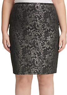 Plus Size Metallic Jacquard Skirt