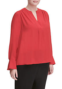 Plus Size Long Sleeve Solid Top