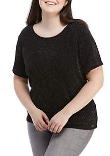 Plus Size Short Sleeve Sparkle Top