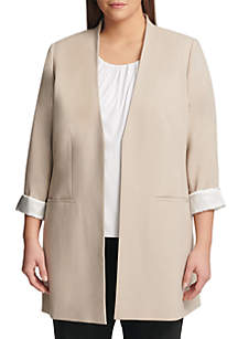 Calvin Klein Plus Size Open Front Topper with Lining