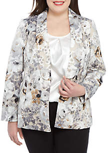 Calvin Klein Plus Size Floral Print Shawl Collar Jacket