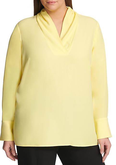 Plus Size Long Sleeve V Drape Neck Top