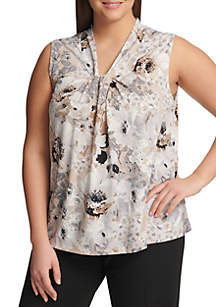Plus Size Sleeveless Floral Knot Neck Cami