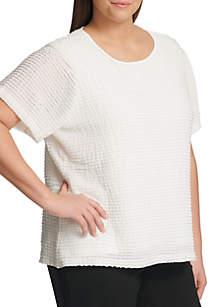 Plus Size Short Sleeve Textured Knit Top
