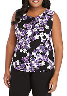 Plus Size Floral Pleat Neck Cami