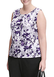 Plus Size Sleeveless Floral Print Shell Top