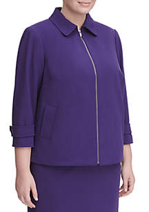 Plus Size Zip Front Jacket