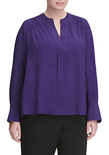 Plus Size Long Sleeve Split Neck Top