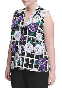 Plus Size Floral Windowpane  Top