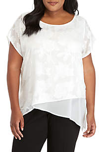 Plus Size Asymmetric Hem Top