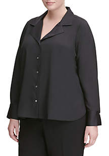 Plus Size Long Sleeve V-Neck Top