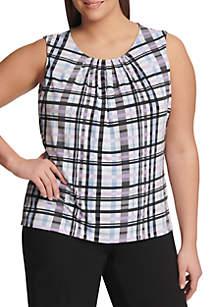 Calvin Klein Plus Size Sleeveless Plaid Pleat Neck Cami