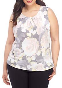 22454476 ... Calvin Klein Plus Size Sleeveless Floral Pleat Neck Tank