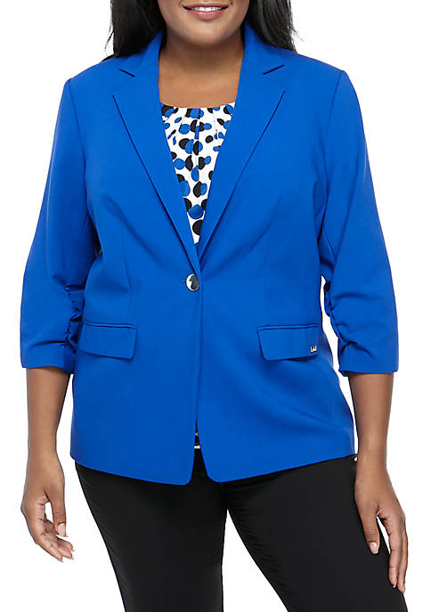 Plus Size One Button Scrunch Sleeve Jacket