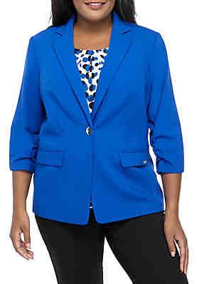 e9cea069e680f Calvin Klein Plus Size One Button Scrunch Sleeve Jacket ...