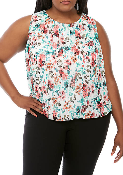Calvin Klein Plus Size Sleeveless Floral Bubble Top