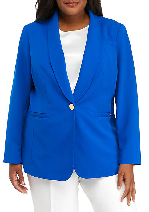 Calvin Klein Plus Size 1 Button Crepe Jacket
