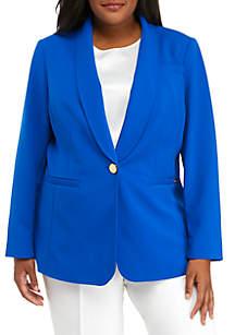 Calvin Klein Plus Size 1 Button Crepe Jacket