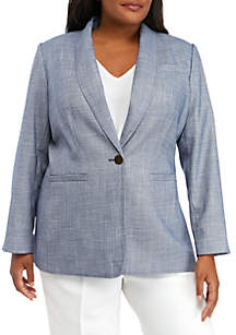 Calvin Klein Plus Size Textured Shawl Collar Jacket