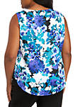 Plus Size Sleeveless Floral Print Woven Top