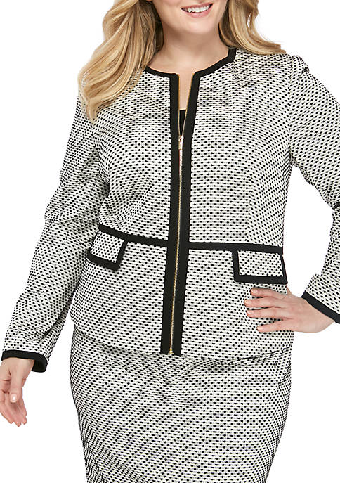 Calvin Klein Plus Size Piped Novelty Zip Front