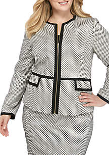 Calvin Klein Plus Size Piped Novelty Zip Front Jacket